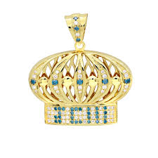 customized pendants custom made jewelry white blue diamond crown pendant for men in