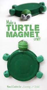 upcycled turtle magnet craft moms and crafters