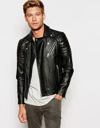 mens leather biker jacket selected leather biker jacket with asymmetric zip in black for men