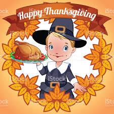 postcard happy thanksgiving day pilgrim stock vector