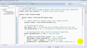 online class platform calculating a class average using the while statement and counter