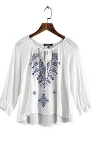 embroidered blouses geometric embroidered top blouse pinteres