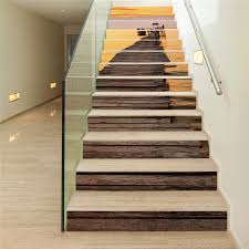 home stairs decoration 13 pieces set creative diy 3d stairway stickers sunset harbor