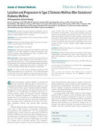 lactation and incidence of diabetes after gdm annals of internal
