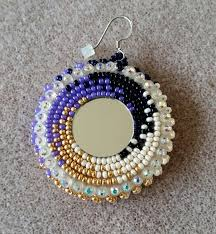 native american purple and gold beaded earrings with mirror by