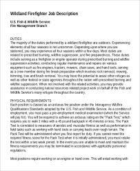 wildland firefighter resume sample firefighter job description 9 examples in pdf