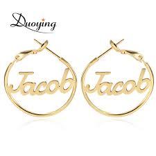 name hoop earrings aliexpress buy duoying 25 mm custom name hoop earrings for