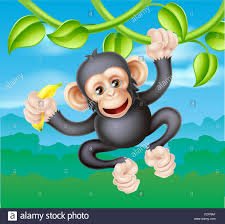 a cute cartoon chimp primate similar in appearance to a monkey