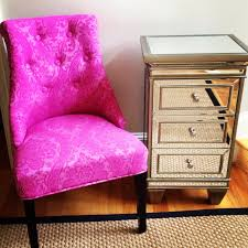 pink chair and mirrored stand both cynthia rowley on the hunt