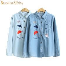 denim blouses autumn denim umbrella embroidered shirt design