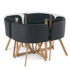 table avec 4 chaises table avec plateau en verre trempé et 4 chaises en bois et pvc noir