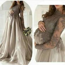 gray tulle lace maternity dresses evening formal baby
