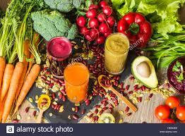 healthy vegan food fresh vegetables on wooden background detox