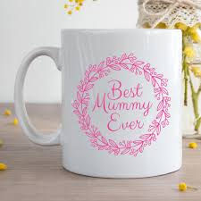 personalised best mummy ever pink wreath durham mug giftpup