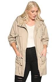 Themogan Women S Plus Size Oversized Anorak Jacket Utility Military