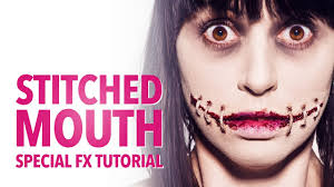 stitched mouth halloween makeup tutorial youtube