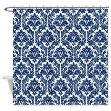 Blue Damask Shower Curtain Blue Damask Shower Curtain Bath Design