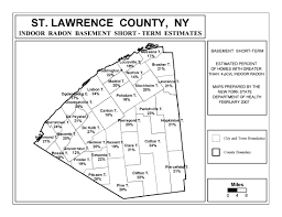 New York State Counties Map by Radon New York State Department Of Health Wadsworth Center