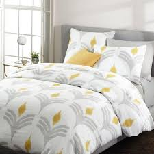 Yellow Grey And White Bedding Flax Yellow Gray Fan Ikat Bedding