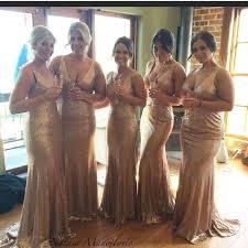 stunnning v neck sequins gold bridesmaid dresses 2017 plus size
