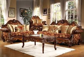 Floral Print Sofas Luxury Italian Living Room Sofa Sethand Carved Classical Sofa