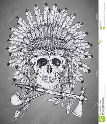 hand drawn indian headdress with human skul l tomahawk and calum