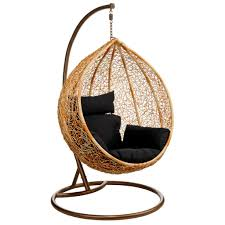 adorable design of hanging wicker chair made of wooden material