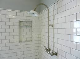 bathroom handsome white subway tile shower oaks surround with
