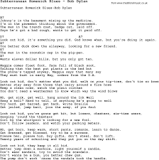 song subterranean homesick blues by bob dylan song lyric for