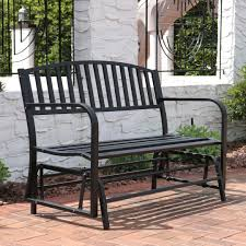 outdoor ls for patio sunnydaze 50 inch black steel outdoor patio glider bench