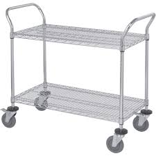 Wire Shelf Units Quantum Wire Shelving Mobile Utility Cart U2014 2 Shelves 18in W X