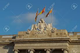 Barcelona Spain Flag Barcelona Spain City Hall Stone Facade Coat Of Arms With Flags