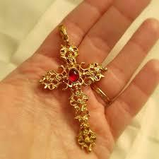 cross stone necklace images Avon jewelry vintage cross pendant red stone gold tone poshmark jpg