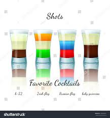 Guinness Flag Favorite Shot Cocktails Set Isolated B52 Stock Vector 199854680