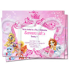 Princess Themed Birthday Invitation Cards Disney Princess Palace Pets Personalized Birthday Invitations