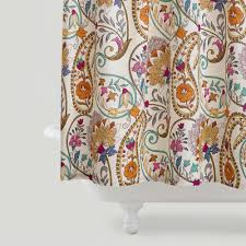 colorful shower curtains paisley floral curtain in bathroom world