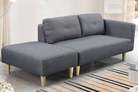 Cavendish Charcoal Grey Fabric Modern  Seater Sofa With Footstool - Sofa and footstool