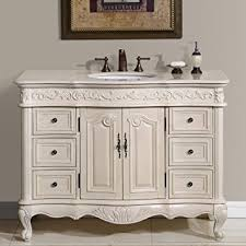 Amazoncom Silkroad Exclusive Countertop Marble Single Sink - White 48 inch bath vanity