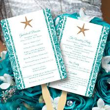 Fan Wedding Program Kits Fan Wedding Programs Beach Starfish Jade