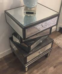 Mirrored Glass Nightstand Contemporary Design Mirror Glass Four Drawer Set Of 2 Nightstand