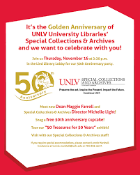 Light Las Vegas Calendar Special Collections U0026 Archives 50th Anniversary Event Calendar