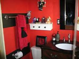 red and black bathroom wall decor white brick wall checkered tile