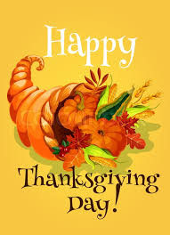 thanksgiving day cornucopia greeting card traditional design of