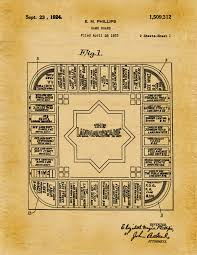 patent 1924 land lords game predecessor to monopoly art print