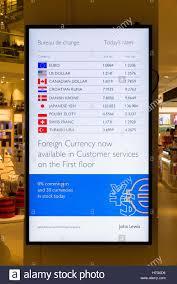 bureau de changes display of exchange rates for the bureau de change services