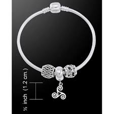 silver bead bracelet with charm images Triskele sterling silver bead bracelet pagan wiccan jewelry jpg