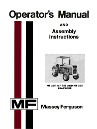 massey ferguson mf 255 mf 265 and mf 275 tractors operator u0027s manual