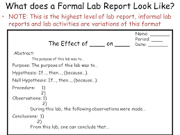 writing for advanced science courses part 1 lab report format