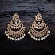 chandbali earrings gold plated antique chandbali earrings gold and white