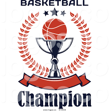royalty free vector logo of a basketball on a trophy cup inside a